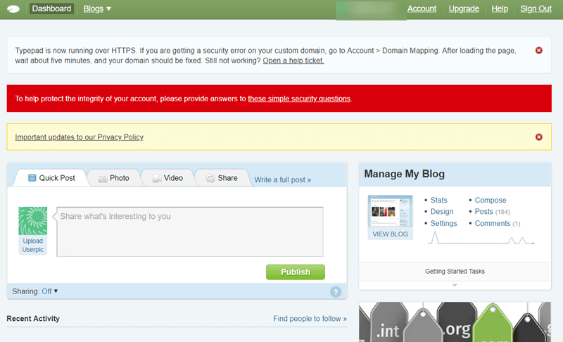 typepad Welcome screen - alternatives to WordPress