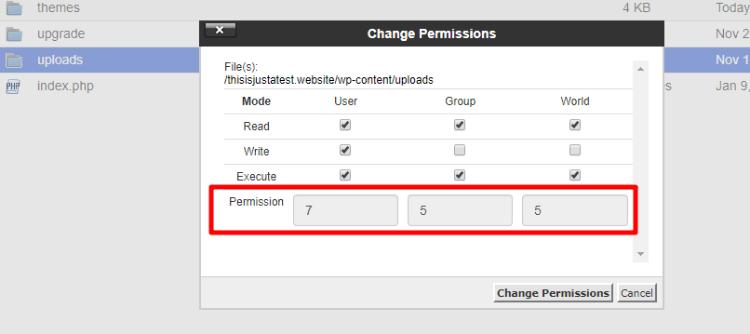 change file permission uploads folder WordPress
