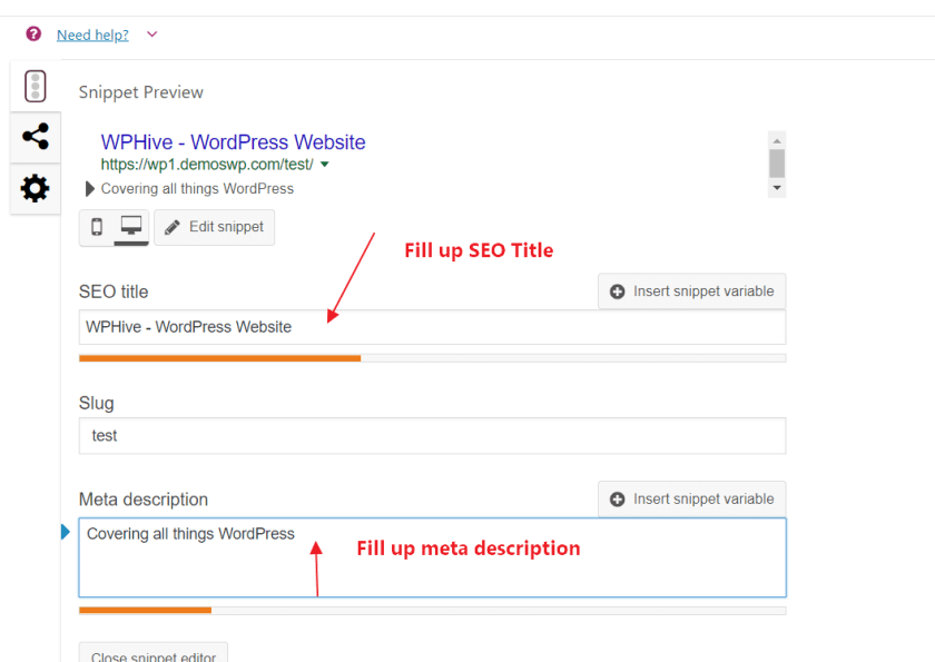 SEO Frontpage Settings Detail