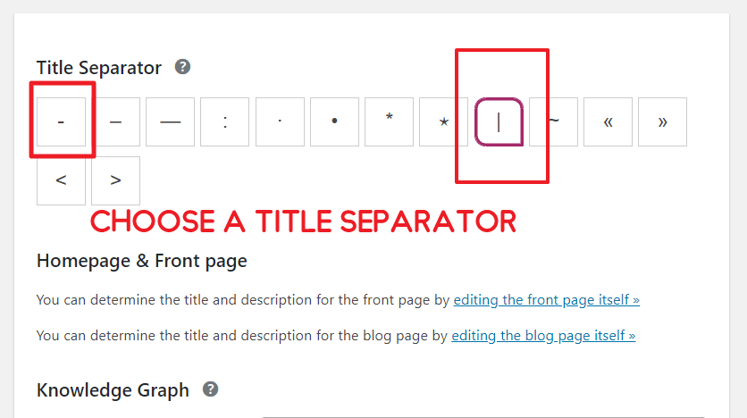 Title Separator SEO Settings Yoast