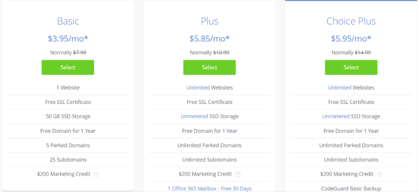Bluehost Package