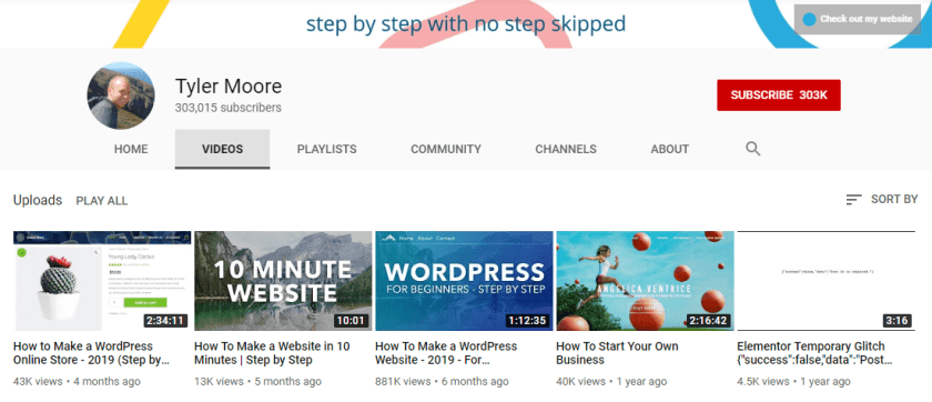Tyler Moore WordPress YouTube Channel