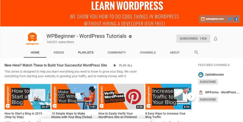 WP Beginner YouTube Channel