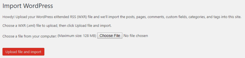 Upload File Import WordPress