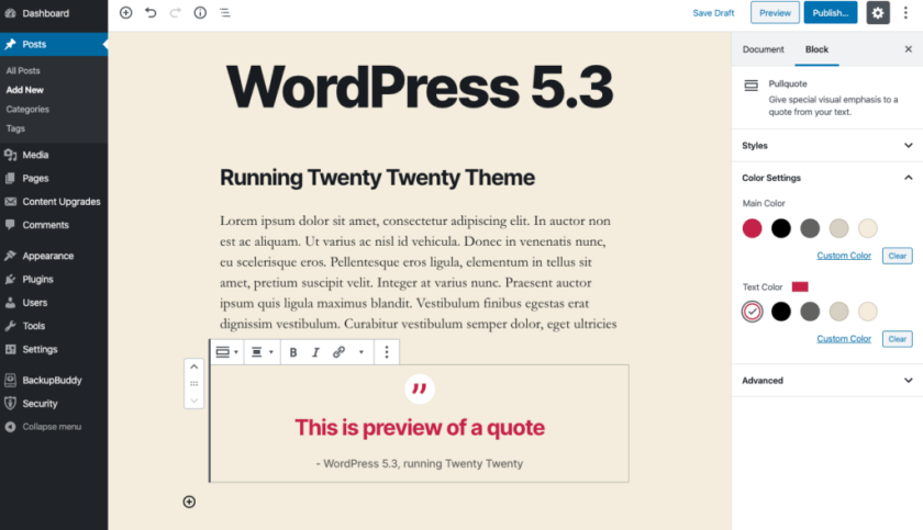 In Editor Preview WordPress 5.3