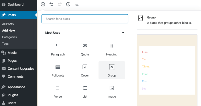 WordPress 5.3 Group Block