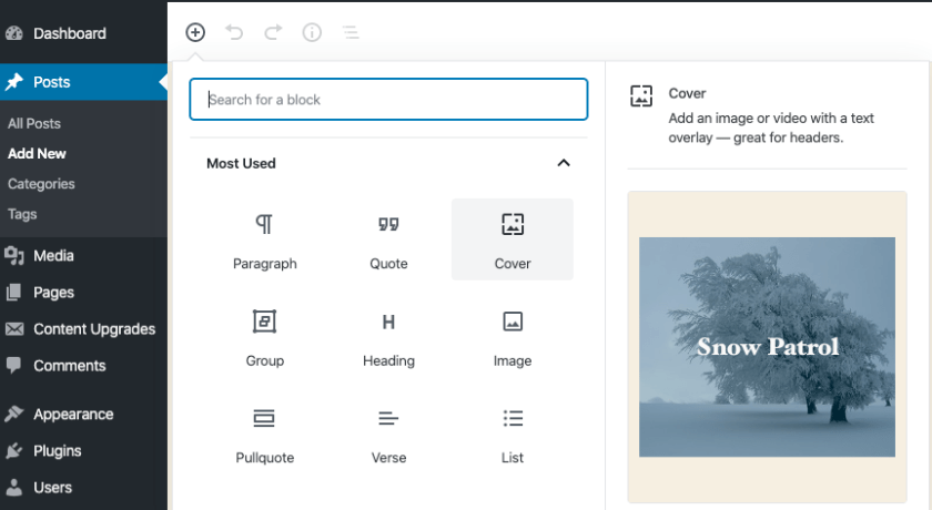 WordPress Block Previews