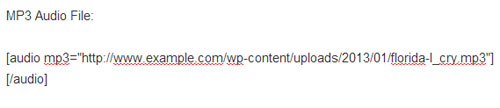 screenshot showing how to embed audio file in a WordPress post/page using shortcode