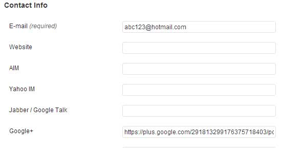 screenshow showing how add the google+ profile URL to the contact section of wordpress profile