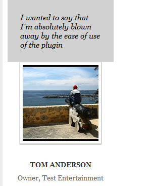 screenshot of wordpress testimonial pluign configuration