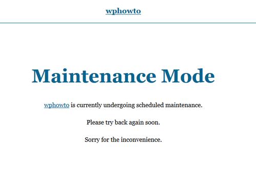 screenshot showing the simple maintenance mode plugin demo