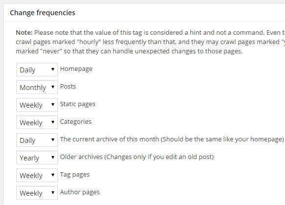 screenshot showing the change frequencies section google xml sitemap plugin