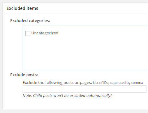 screenshot showing the excluded items section of Google sitemap WordPress plugin