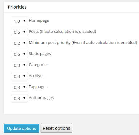 screenshot showing the priorities section of  WordPress sitemap plugin