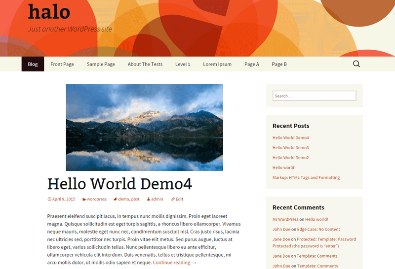 screenshot showing the halo child theme for WordPress