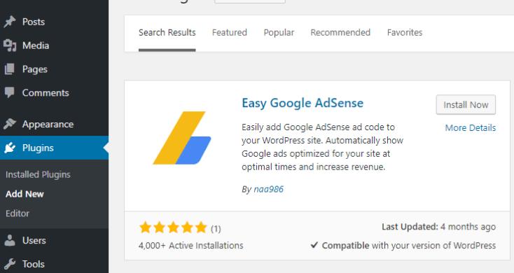 screenshot showing how to install google adsense plugin in wordpress