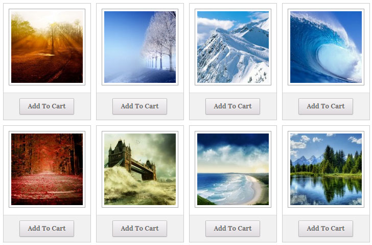 screenshot showing a demo of gallery template 1 using photo seller plugin