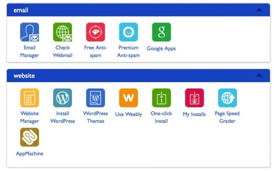 screenshot of bluehost control panel