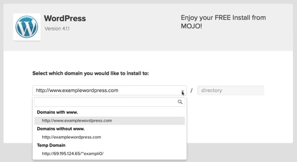 screenshot showing which domain to install WordPress to on bluehost