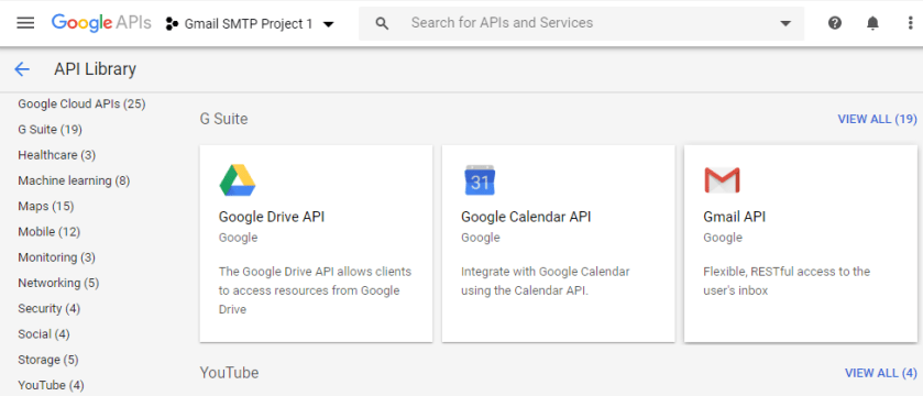 screenshot showing how to select Gmail API for a project in Google Developers Console