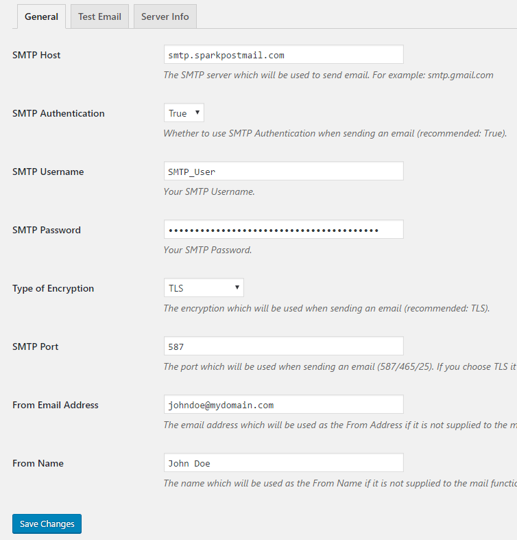 screenshot showing how to configure SparkPost SMTP credentials in the SMTP Mailer plugin settings