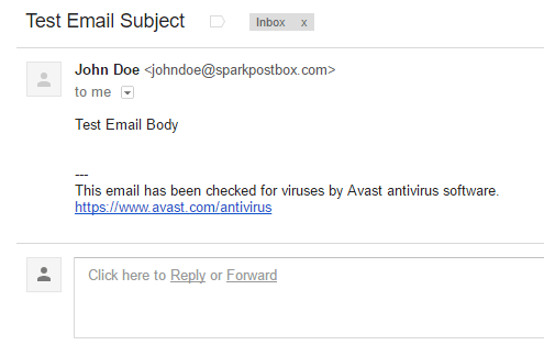 screenshot showing a test email sent via SparkPost