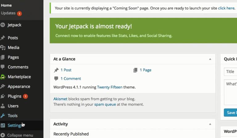 screenshot showing the WordPress admin dashboard menus on bluehost