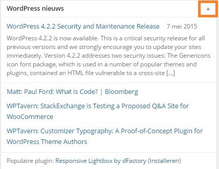 Sectie WordPess nieuws minimaliseren in het dashboard