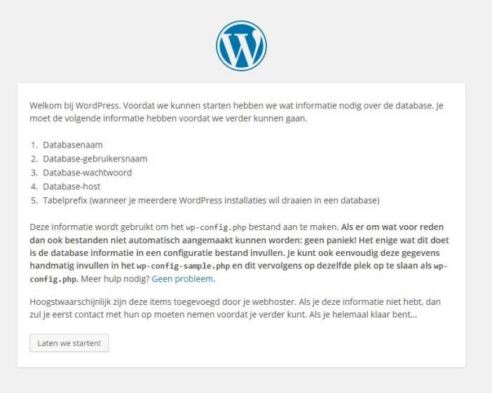 WordPress configuratie venster