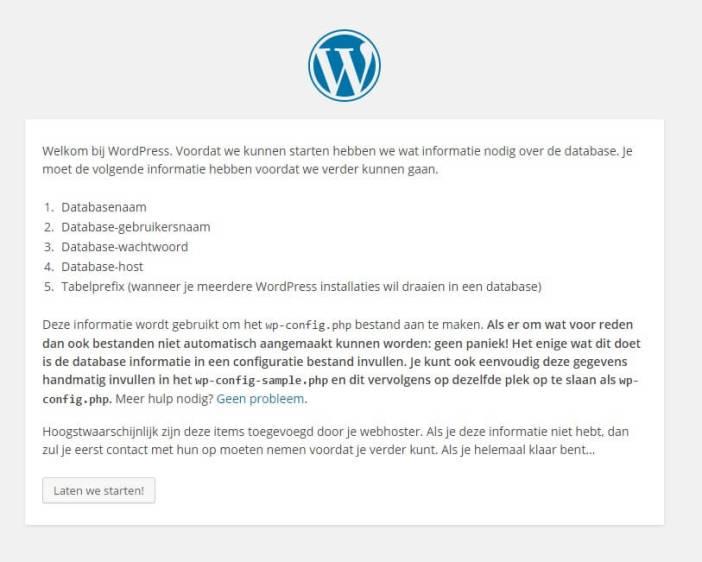 WordPress configuratie venster