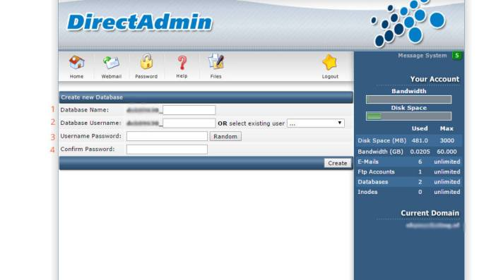 MySQL database aanmaken in Direct Admin