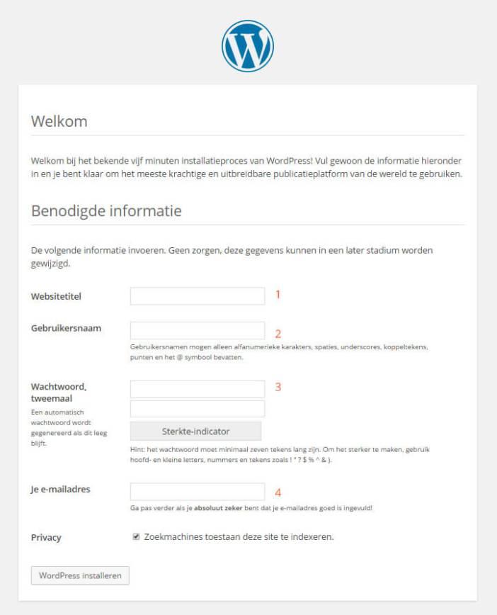 WordPress gebruikersgegevens