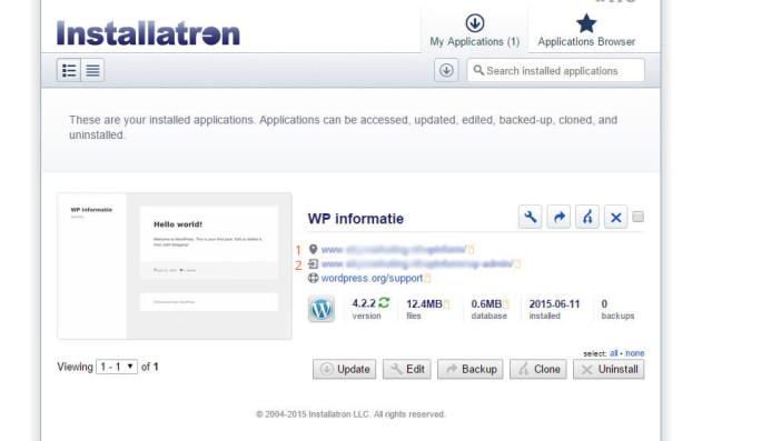 Venster dat zichtbaar wordt na de succesvolle installatie van WordPress via Installatron