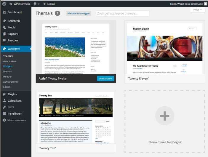 Handleiding WordPress thema installeren, beheerfunctie