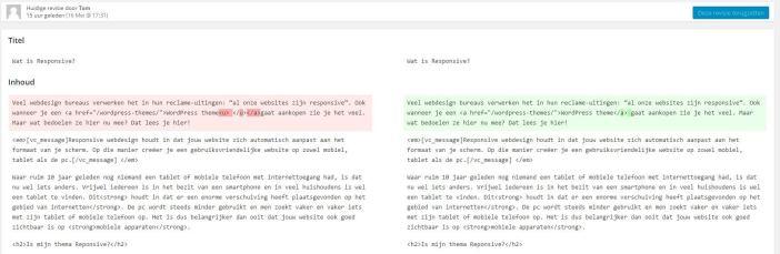 Wordpress revisie terugzetten
