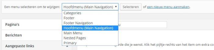 wordpress menu selecteren
