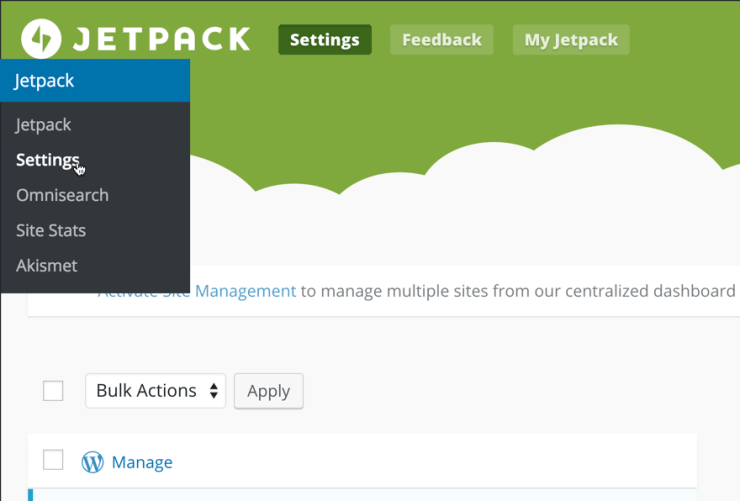 Activate Jetpack Manage Feature