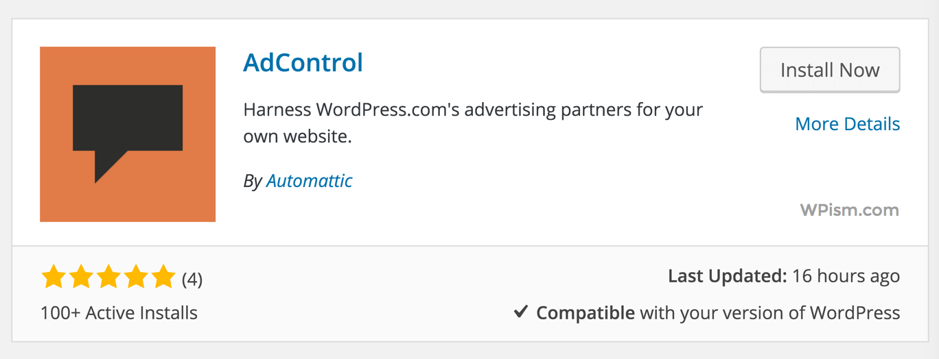 AdControl Automattic WordPress Plugin