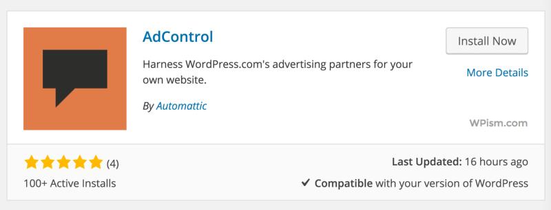 AdControl Automattic WordPress Plugin