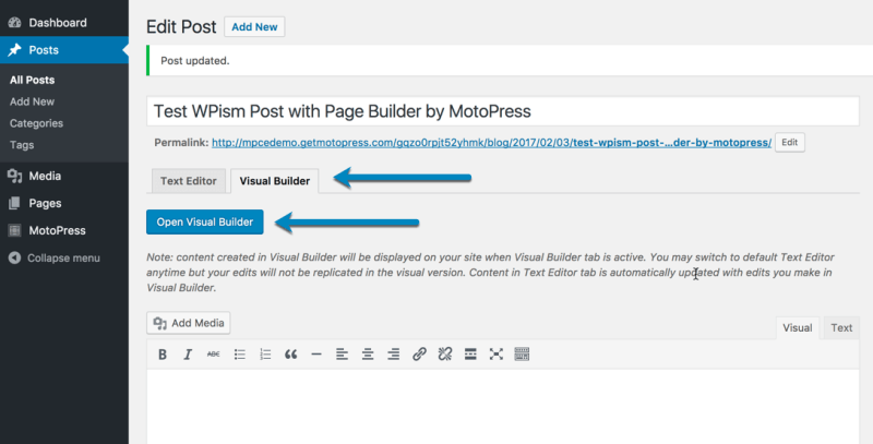 Add New Post in Page Builder MotoPress