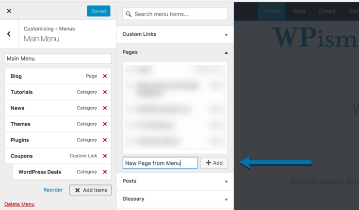 Add Page from Menu in WordPress 4.7