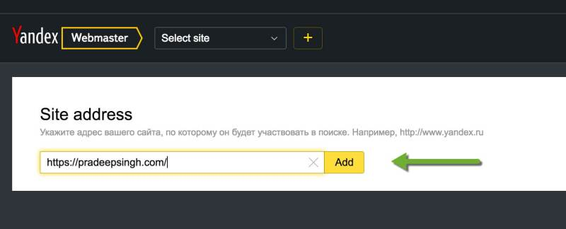 Add Site Address to Yandex Webmasters tool