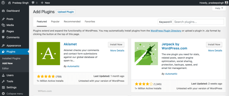 Adding New Plugins WordPress Blog New setup