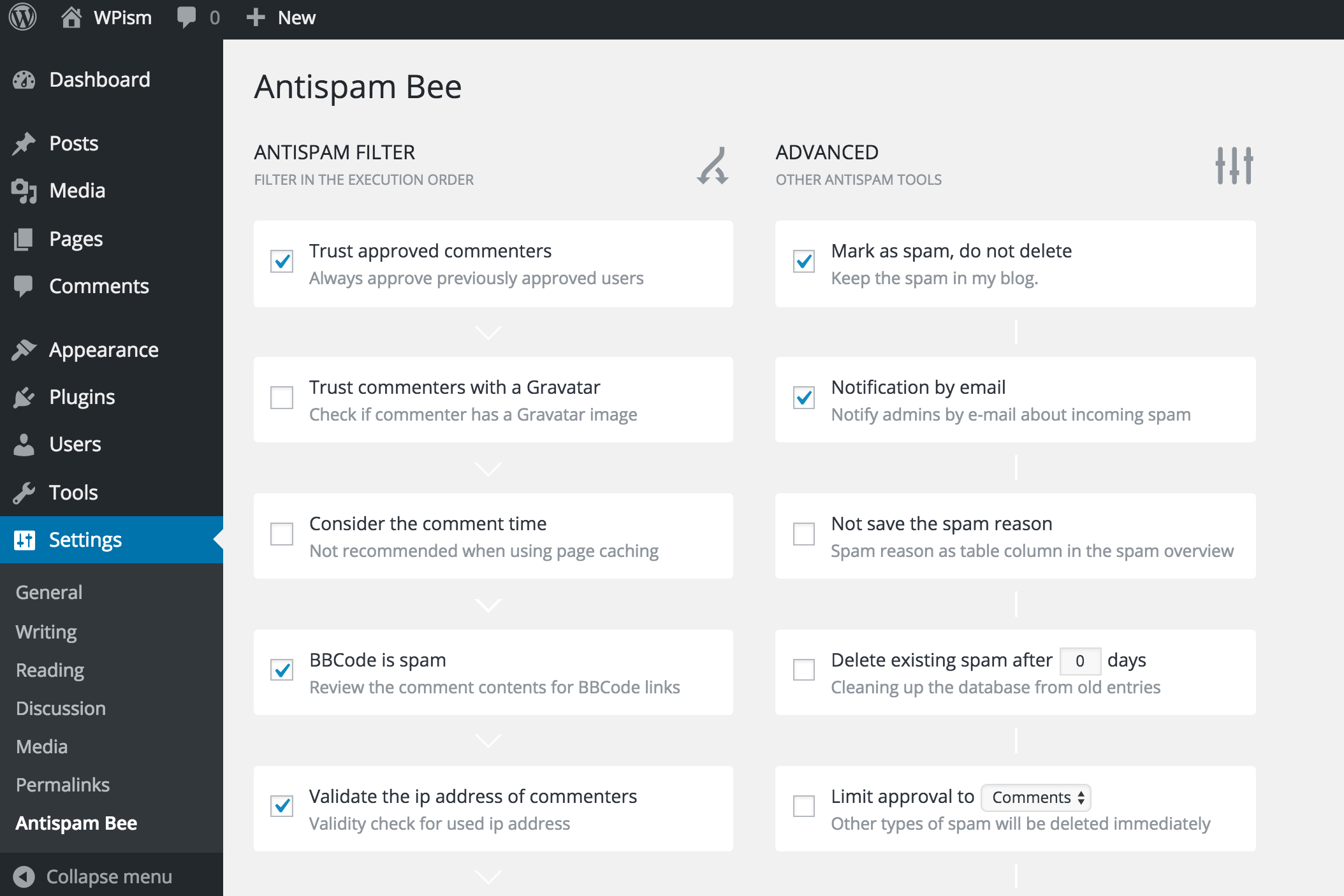 Antispam Bee Plugin Settings