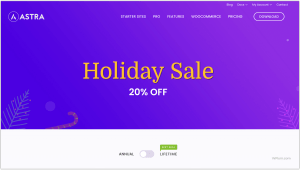 Astra Theme Holiday Sale New Year Christmas