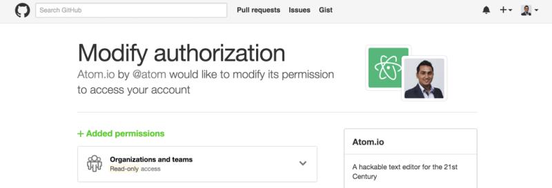 Authorise Atom with GitHub