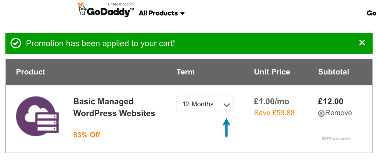 Basic Managed WordPress GoDaddy Hosting Coupon Cart