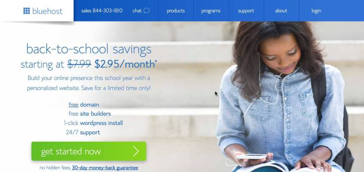 Bluehost Back to School Sale Hosting deal