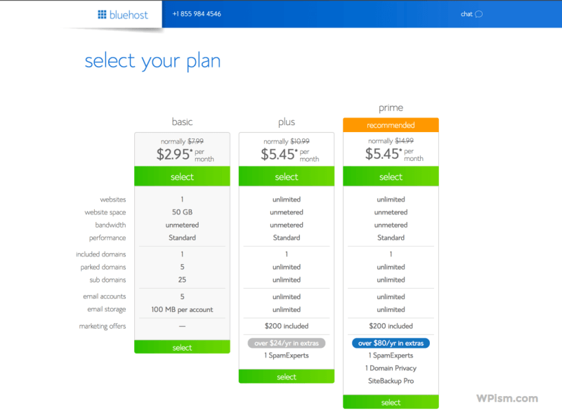 Bluehost Pricing Plans To start a Blog