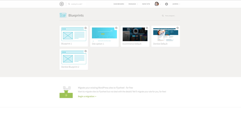 Blueprints Dashboard Flywheel WordPress Hosting